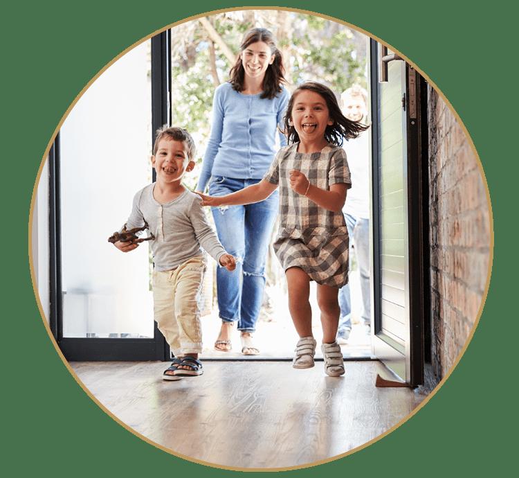 family front door gold frame